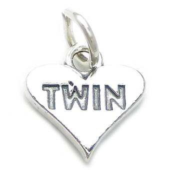 Twin Heart Sterling Silver Charm .925 X 1 Twins Family Charms - 4023