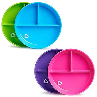 Munchkin stay put suction plate 4 pack pink and purple green and blue