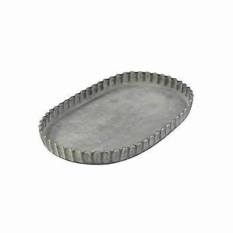 Bandeja ovalada de marco metálico con bordes prensados, pequeño, gris