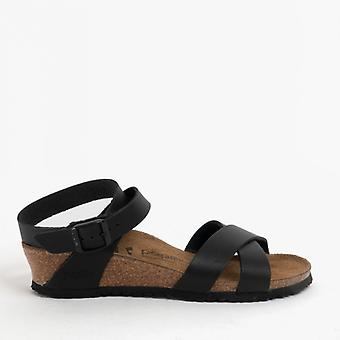 Papillio By Birkenstock Lola 1013160 (nar) Ladies Leather Ankle Strap Sandals Black