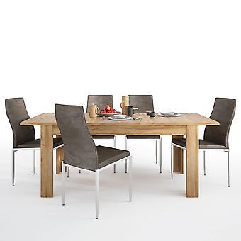 Bold Set Bold Extending Table In Oak+4 Lillie High Chair Dark Brown.