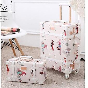 Retro kukka liikkuva matkalaukkusetti Spinner Trolley Laukku