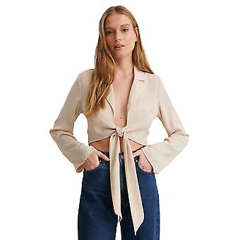 Na-Kd Women's Front Tie Blouse Relaxed Fit