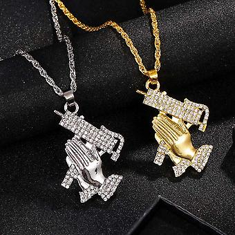Hip hop chain necklace with hands praying with guns