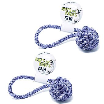 2 x Pull Knot Rope Dog Chew Toy Large 40cm Long Ball Tugger Outdoor Pet Activities Chase Play