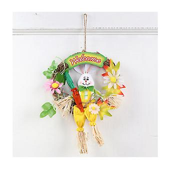 Easter Ornaments Creative Cute Easter Bunny Wreath Scarecrow Easter Decoration Pendant