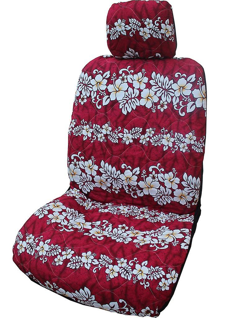 Side Airbag Optional; Hibiscus Wave Separate Headrests Hawaiian Car Seat Covers