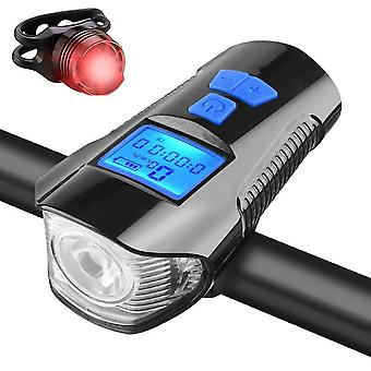 Led bike light rechargeable tail and front set cycle headlight with bicycle speedometer odometer