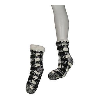 Cuddl Duds Women's Buffalo Check Faux Fur Sherpa Lined Socks Black A370030