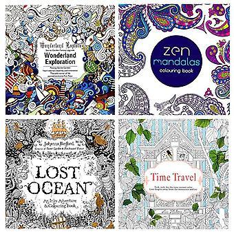 4pc 24 página colorindo livro enchanted floresta mandalas animal crianças coloração adulta