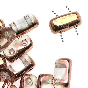 CzechMates Glass 2-Hole Rectangle Brick Beads 6x3mm - Apollo Gold (1 Strand)