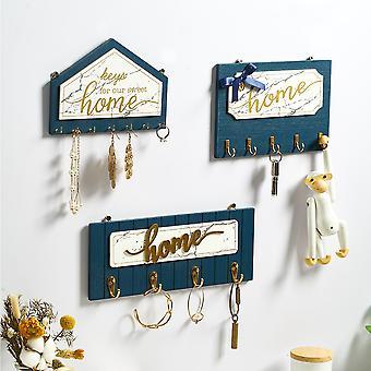Wall Hanging Wood Key Hanger Holder Coat Hook Vintage Hallway Home Decorative Room Rack