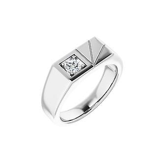 14k Biele zlato Okrúhle 4,3mm leštené .33 Carat Diamond Pánske Prsteň Veľkosť 11 Šperky Darčeky pre mužov