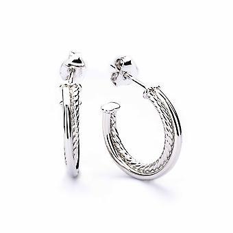 Eudora - Cerceau texturé de corde - Icônes Boucles d'oreilles - Argent - Bijoux cadeaux pour femmes de Lu Bella