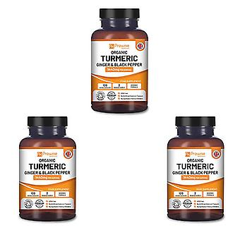 Pack of 3 - Turmeric Curcumin 1440mg with Black Pepper & Ginger | Made In UK by Prowise