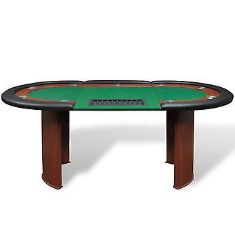 vidaXL pokertafel voor 10 spelers met dealergebied en chip tray groen