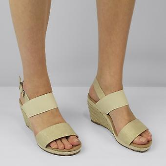 Shumo Orange Grove Ladies Elasticated Wedge Heel Sandals Gold