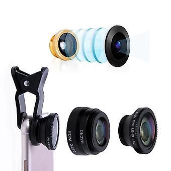 3 in 1 laajakulma makro kala silmä linssi matkapuhelin kamera sarja älypuhelimeen