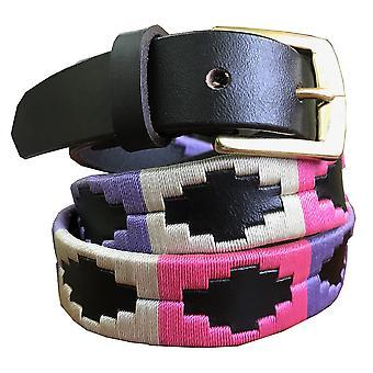 Carlos díaz premium de cuero marrón bordado diseñador flaco gaucho polo cinturón awo42661