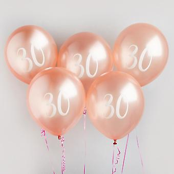 30th Milestone Birthday Party Balloons in Rose Gold x5
