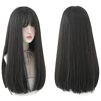 Long Black Straight Hair Wig With Bangs Synthetic High Density Long Hair