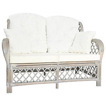 vidaXL 2-paikkainen sohva Harmaa Rottinki