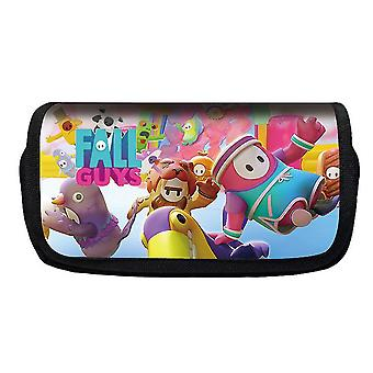 Jelly Bean Fall Guys Double Flap Pencil Case Polyester Children's Pencil Case(Color-23)
