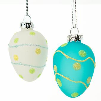 LAST FEW - Hand Painted Glitter Dot Bauble for Easter Trees