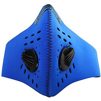 (Blue) Face Mask Masks Anti Dust with Activated Carbon Filter Breathable Respirator