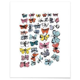 JUNIQE Print -  Andy Warhol - Butterflies, 1955 - Schmetterlinge Poster in Bunt