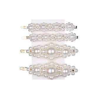 Fashion Pearl Hair Clip Snap Button Sweet Pearl Jewelry Lady Barrette Stick