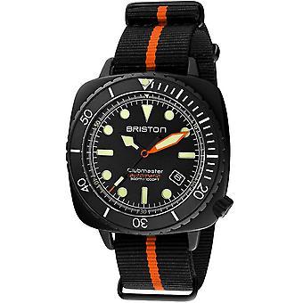 Briston 20644.pbam.b.35.nbo Mens Automatisk Dykare Pro Svart Och Orange Stripe Nylon Klocka