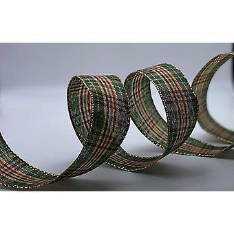 Juletrådkantet bånd 1,5 tommer bredt 10 meter - rød og grønn tartan