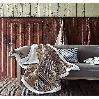 Quilts comforters montana cabin oriental red/tan patchwork quilt sherpa southwestern throw blanket