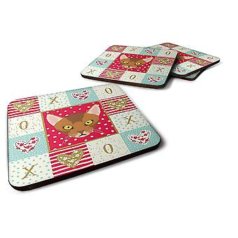Coasters carolines treasures ck5077fc abyssinian cat love foam coaster set of 4