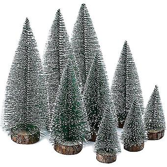 Christmas tree stands 9 pieces of mini christmas tree green  miniature artificial christmas tree  miniature artificial