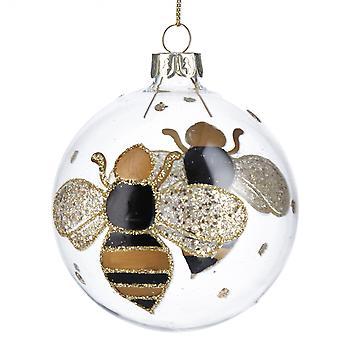 Gisela Graham Black/Gold Bumble Bee Bauble