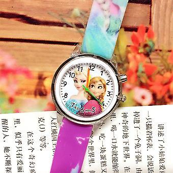 キッズプリンセスエルザカラフルなフラッシュライトクロック腕時計