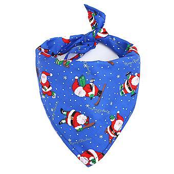 Christmas Element Print Washable Dog Triangle Bibs Pet Kerchief Scarf,a