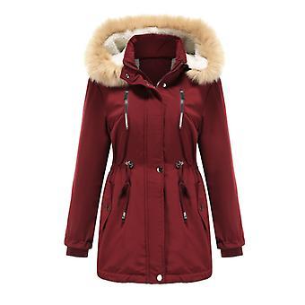 Baumwolljacke Jacke Daunenwärme, wasserdicht, gepolstert Lamm Samt Rot