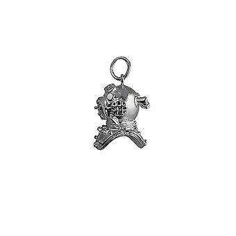 Silver 17x11mm Deep Sea Divers Helmet Pendant or Charm