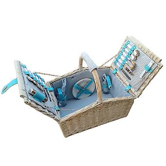 4 Person Farmhouse Fitted Blue Checked Lined Hamper