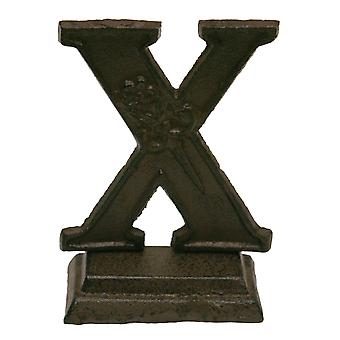 Iron Ornate Standing Monogram Letter X Tabletop Figurine 5 Inches