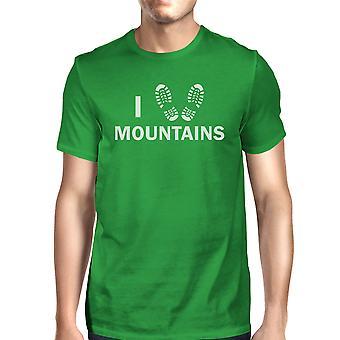 Ik hart bergen mannen groen katoen T-shirt unieke grafische T