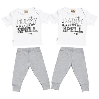 Spoilt Rotten Mummy & Daddy Under My Spell Baby T-Shirt & Baby Jersey Trousers Twins Outfit Set
