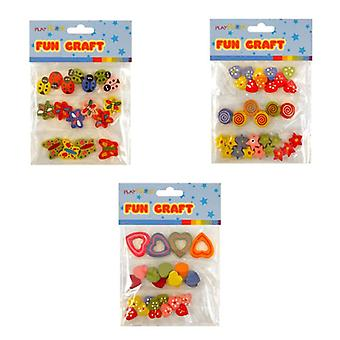 12 Wooden Beads Craft Packs