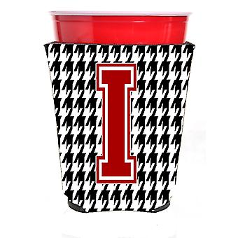 Monogram - Houndstooth  Initial  I Red Solo Cup Beverage Insulator Hugger