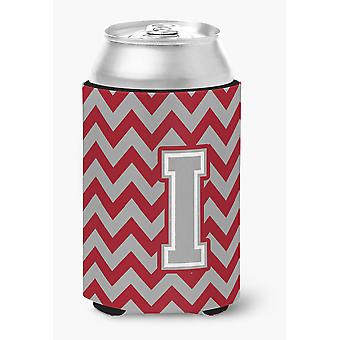 Letter I Chevron Crimson and Grey   Can or Bottle Hugger