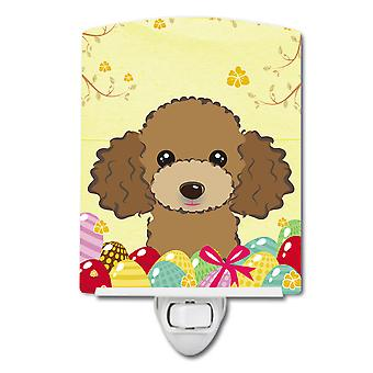 Chocolade bruin poedel Easter Egg Hunt keramische nachtlampje