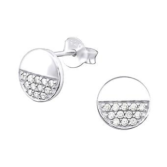 Round - 925 Sterling Silver Cubic Zirconia Ear Studs - W32068X